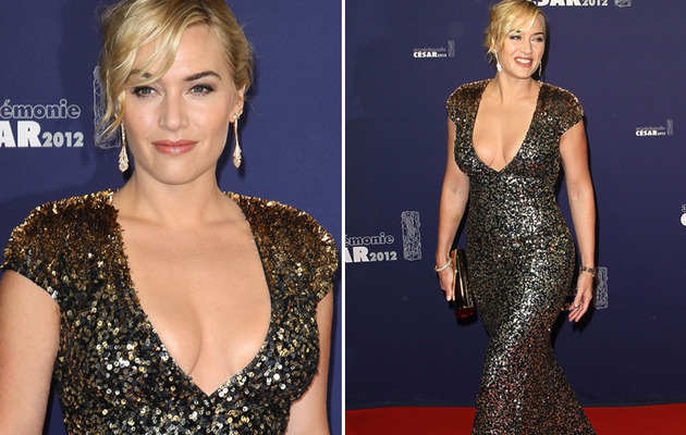Kate Winslet Stuns In Low-Cut Gown