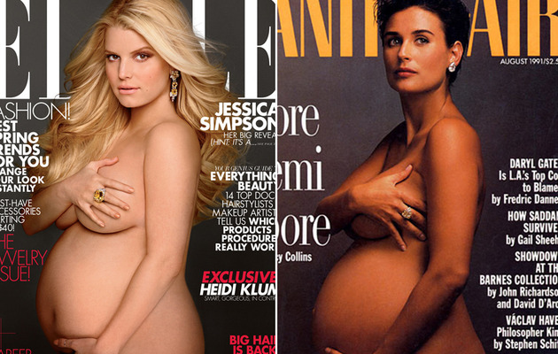 Better Pregnant Nude Cover: Jessica Simpson or Demi Moore?