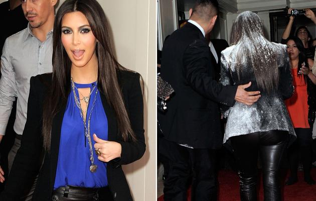 Kim Kardashian Flour-Bombed at Fragrance Event