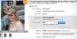 Royal Wedding Hat -- Bidding SOARS to $30K!