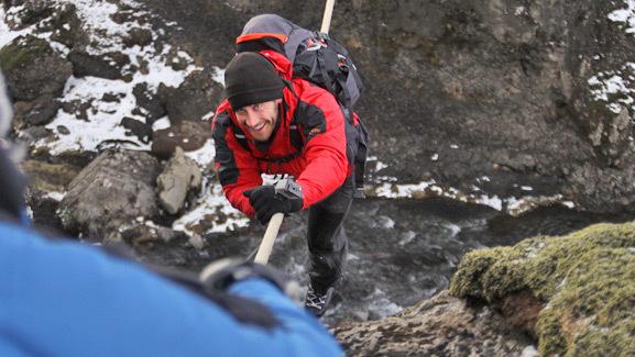 Video: Jake Gyllenhaal Crosses Terrifying Ravine on 'Man vs. Wild'
