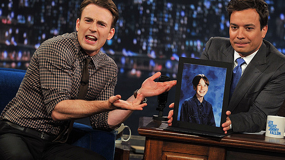 Chris Evans Shows Off Embarrassing School Portraits
