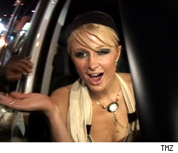 Paris Hilton gets out of car
