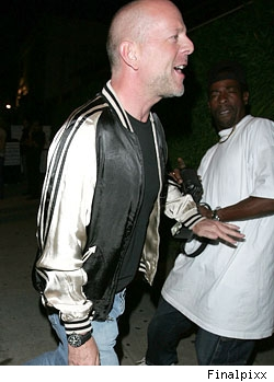 Bruce Willis outside of Hollywood restaurant Koi
