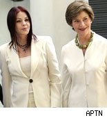 Priscilla Presley and Laura Bush