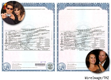 Suri and Grier's birthcertificates side by side