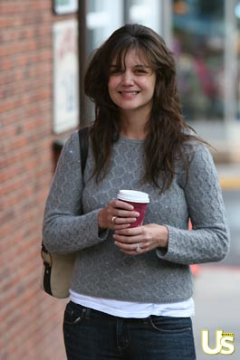 Katie Holmes enjoys a hot beverage