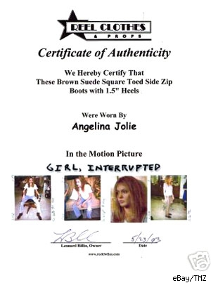 Certificate of Authenticity for Angelina's boots