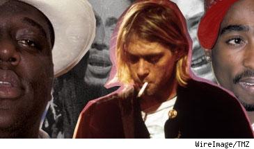 Image composite of Notorious B.I.G, Kurt Cobain and Tupac Shakur