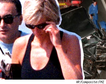 Composite of Dodi Al Fayed, Princess Diana and the site of their car crash