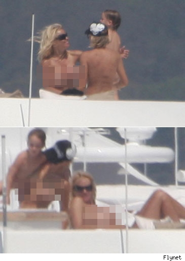 Pam Anderson topless in St. Tropez