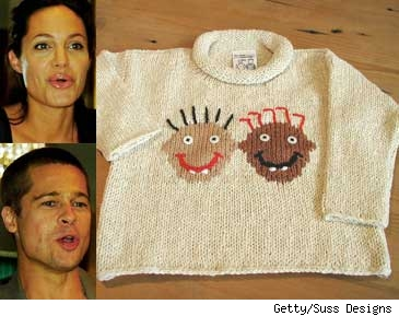 Composite of Shiloh's new sweater with Brad and Angelina