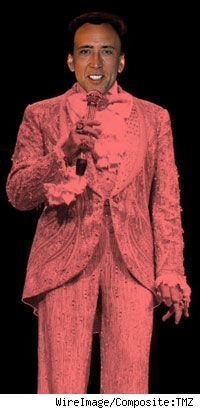 Composite of Nic Cage over Liberace's body