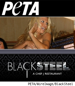 Composite of Peta Logo, Pam Anderson, and Black Steel restaurant logo