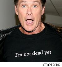 David Hasselhoff wears a t-shirt that says