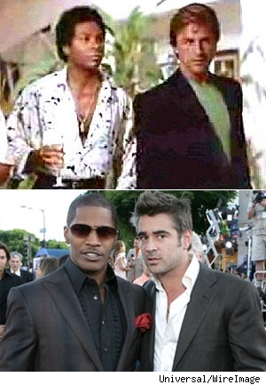 Miami Vice - then and now! Top: Philip Michael Thomas and Don Johnson Bottom: Jaime Foxx and Colin Farrell