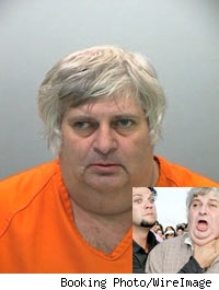 Booking photo of Margera with inset pic of Bam Margera jokingly strangling uncle