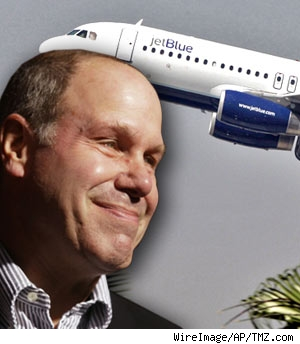 Composite of Michael Eisner and Jet Blue airplane