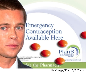 Composite of Plan B ad and Brad Pitt