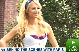 Paris Hilton on set