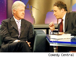 President Bill Clinton with Jon Stewart