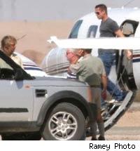 Brad Pitt gets off his private jet