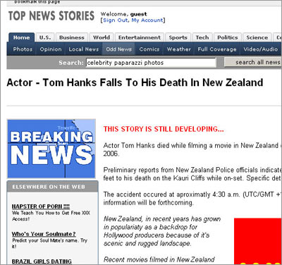 Screenshot of Bogis Tom Hanks report
