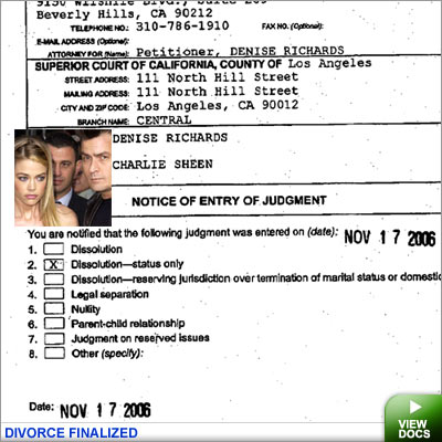 Denise andf Charlie divorce docs