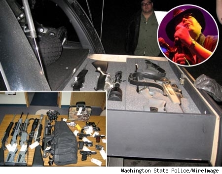 John Popper's trunk with lots of guns