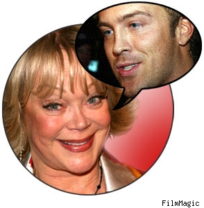 Composite of Candy Spelling with a pic of Larry Birkhead inset