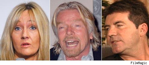 JK Rowling, Richard Branson, Simon Cowell
