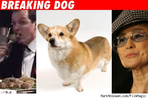 Artist eats dog, with Yoko Ono.