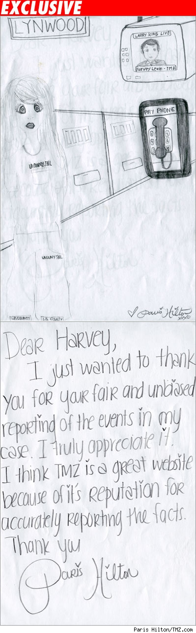 Paris' card to HArvey Levin