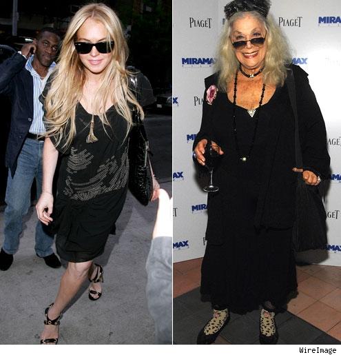 Lindsay Lohan and Sylvia Miles