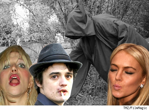 Composite of the grim reaper with Coutney Love, Pete Doherty, and Lindsay Lohan