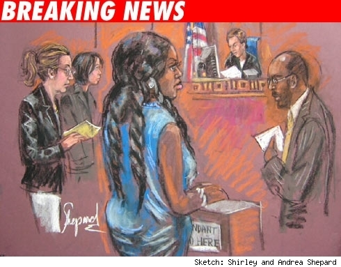 Courtroom sketch of Foxy Brown