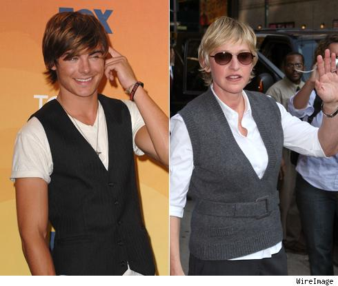 Zac Efron and Ellen DeGeneres