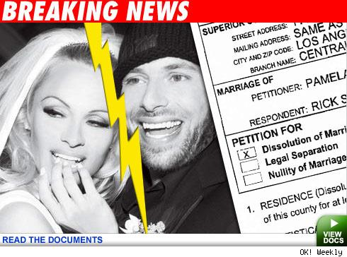 TMZ has confirmed Pamela Anderson has filed for divorce from her hubby, sex ...