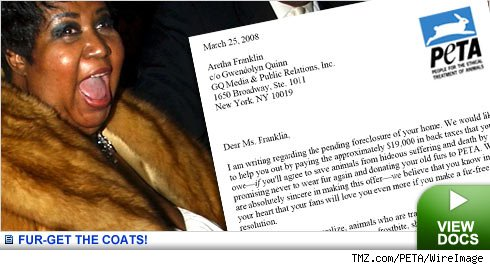 Peta to Aretha - forget about those furs