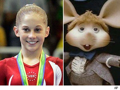 Shawn Johnson and Topo Gigio