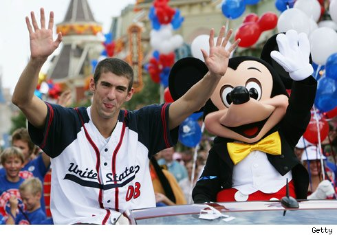 Michael Phelps and Mickey Mouse