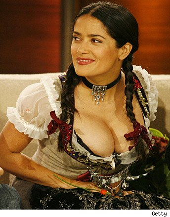 salma hayek grown ups swimsuit. Salma accentuated her