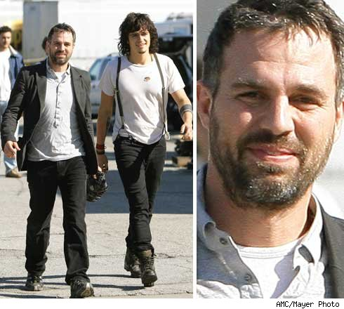 He was seen here with Orlando Bloom in downtown L.A. yesterday. Mark Ruffalo