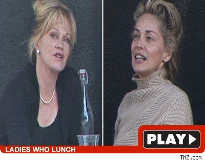 Melanie Griffith, 51, and Sharon Stone, 50, had a mature power lunch in Bev ...