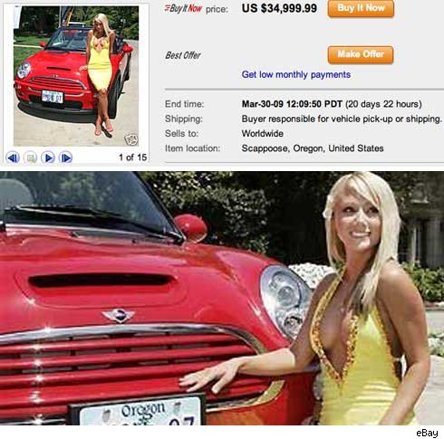 Sara Jean Underwood with Mini Cooper