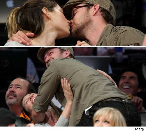 justin timberlake and jessica biel kiss. JT and Jessica Biel