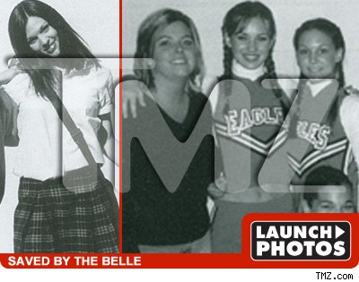 pictures of a young Megan Fox in her various high school uniforms,