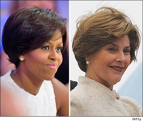 Michelle Obama's Hairdo Laura Bush