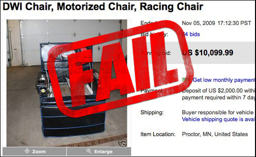 Irresponsible Flake Ruins La-Z-Mobile Auction