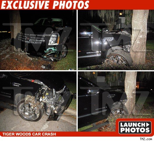 Woods' SUV after he crashed it in November 2009.